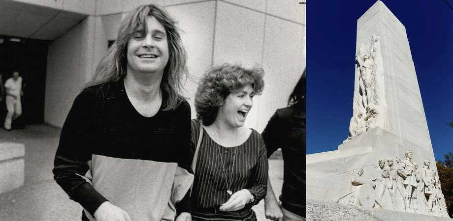 Ozzy Osbourne and his manager, Sharon Arden (now his wife), leave the Bexar County Adult Detention Center on Feb. 19, 1982, after he was arrested for urinating on the Alamo Cenotaph. The Alamo cenotaph is seen in this March 1, 2013 in Alamo Plaza in San Antonio, Texas. Photo: LEFT: San Antonio Express-News File Photo, RIGHT: William Luther / San Antonio Express-News