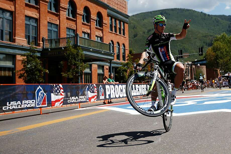 ASPEN, CO - AUGUST 19:  Peter Sagan of Slovakia and Cannondale rides on one wheel to the start line prior to stage one of the USA Pro Cycling Challenge on August 19, 2013 in Aspen, Colorado.  (Photo by Chris Graythen/Getty Images) Photo: Chris Graythen, Getty Images