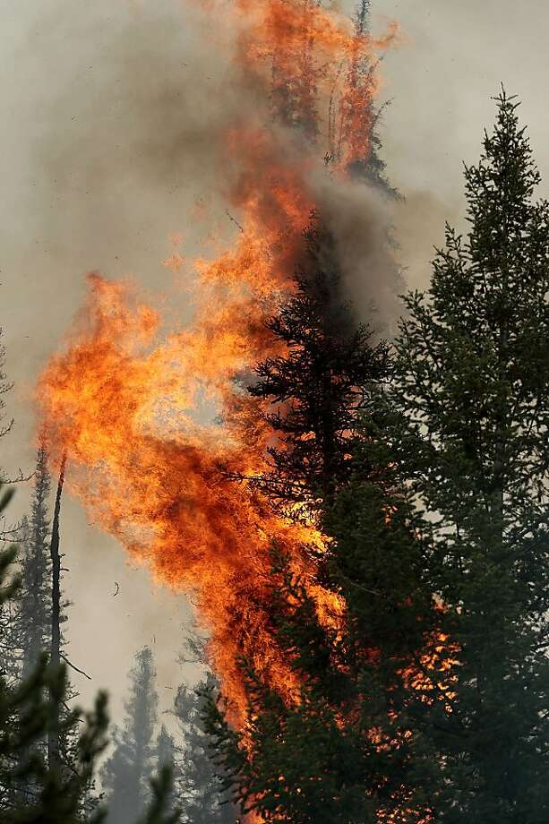 The 104,457 acres Beaver Creek Fire burns in the Baker Creek area on Monday, Aug. 19, 2013 north of Ketchum, Idaho.(AP Photo/Times-News, Ashley Smith) Mandatory Photo Credit Photo: Ashley Smith, Associated Press
