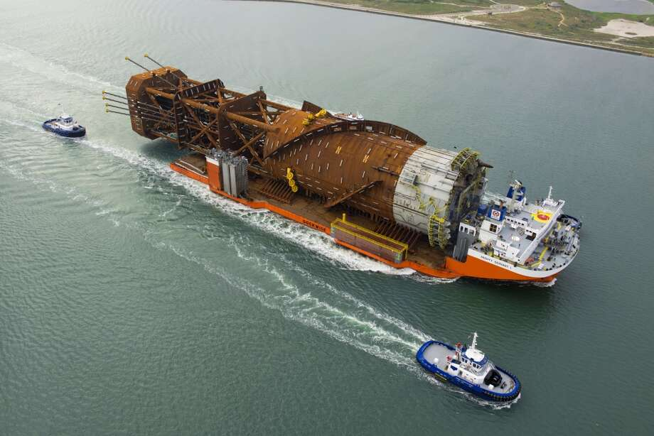 The Lucius spar is hauled from Finland to Ingleside, Texas, where the topsides of the platform are under construction. Photo: Anadarko