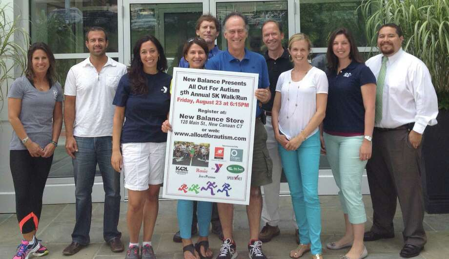 The organizers and sponsors of the fifth annual All Out for Autism race, scheduled for Friday, Aug. 23, are, from left, Tori Fairchild, general manager, Oxygen Fitness; Rich Fedeli, partner, Oxygen Fitness; Carolynn Kaufman, director of special needs programming, New Canaan YMCA; Tina Rosenfeld, co-owner, New Balance New Canaan; Alex Stewart, manager, Walter Stewartís Market; Ron Rosenfeld, co-owner, New Balance New Canaan; Steve Karl, vice president, Karl Chevrolet; Sara Koch, owner, Oxygen Fitness; Amanda Hoffert, SLC Therapy; and  Rob Crespo, SLC Therapy. Photo: Contributed