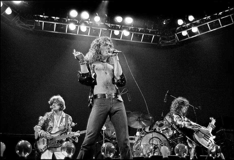 Led Zeppelin performing live on stage at Earls Court in London on 24th May 1975. Left to right: John Paul Jones, Robert Plant, John Bonham and Jimmy Page. Photo: Dick Barnatt, Redferns / Redferns