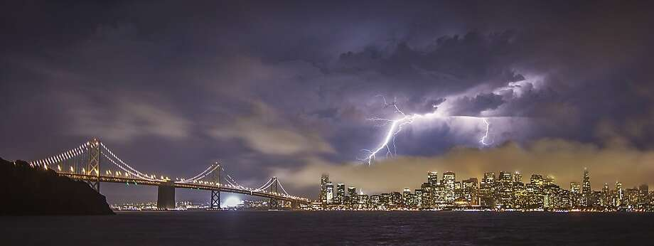 Lightning strikes happened over San Francisco and the Bay Area on Monday night, August 19th, 2013. Photo: Vicki Mar, Courtesy To The SF Gate