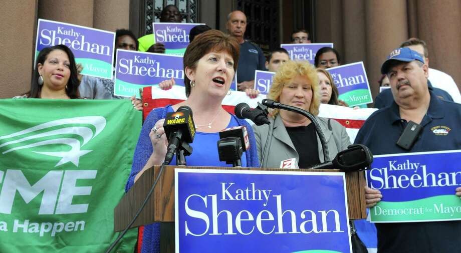 Albany mayoral candidate Kathy Sheehan speaks after accepting the endorsement of the Civil Service Employee Federation union (CSEA) and AFSCME Local 1961, Council 66, Tuesday morning, Aug. 20, 2013, during an announcement outside City Hall in Albany, N.Y. Sheehan is the Albany City Treasurer. She faces former Councilman Corey Ellis in a Democratic mayoral primary in September. ( Will Waldron/Times Union) Photo: WW / 00023574A