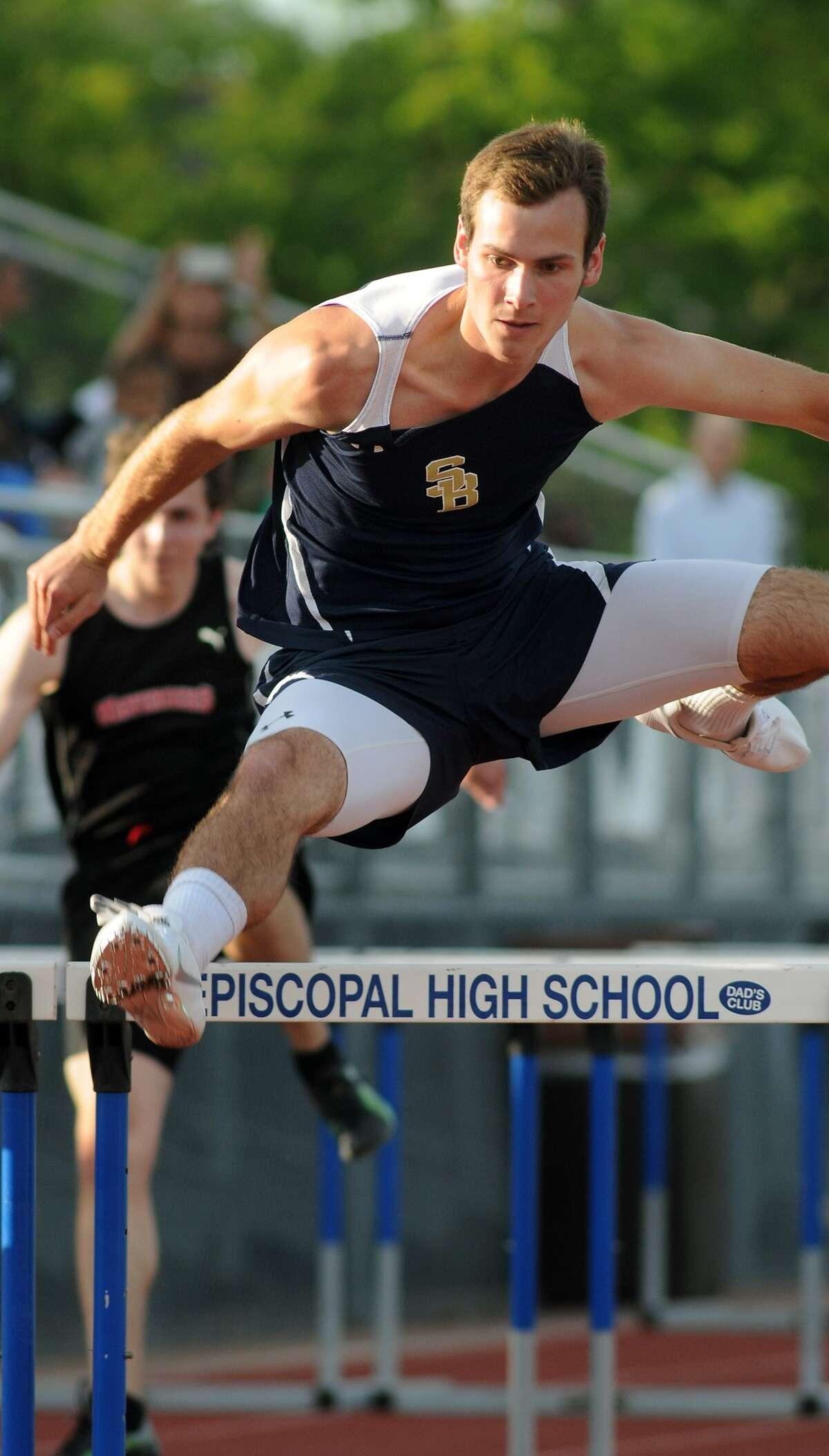 Second Baptist's Parker Johnson competes in the Boys 110 Meter Hurdles at the 2013 Episcopal High School Relays. Freelance photo by Jerry Baker
