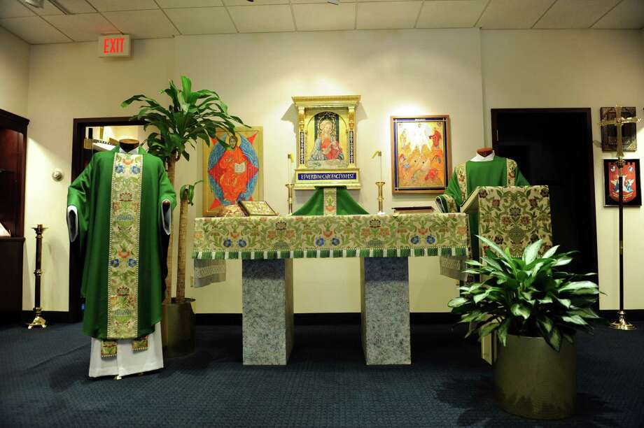 An alter dressed in green at C.M. Almy with supplies decorative furnishings, apparel and worship-related products to churches and clergy members in Old Greenwich, Conn., Tuesday, August 20, 2013. Photo: Helen Neafsey / Greenwich Time