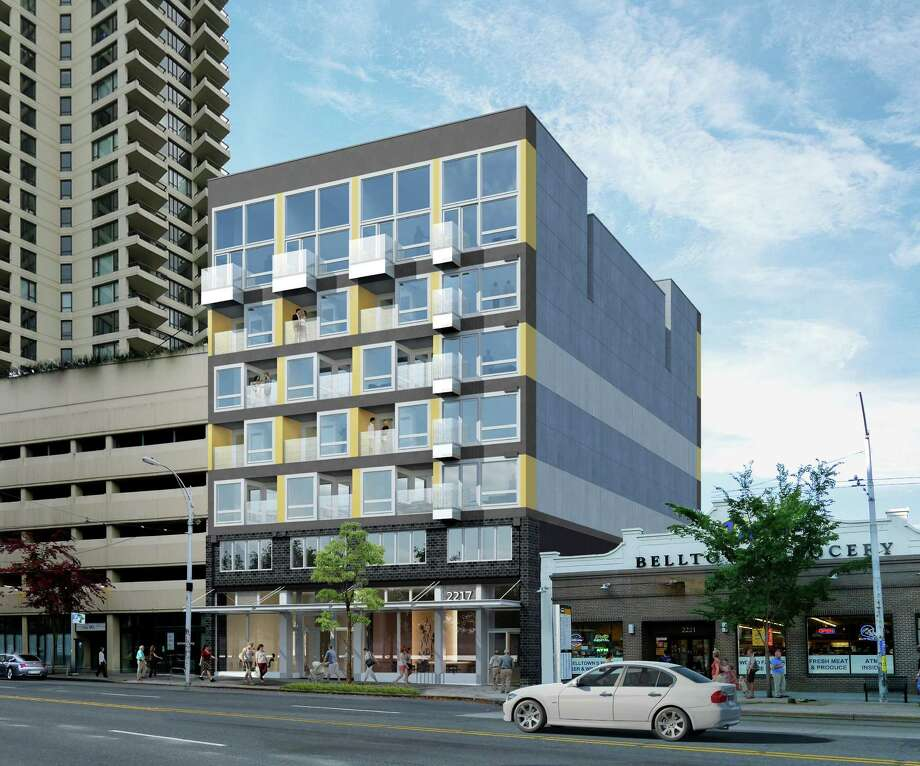 'N' Habitat: Belltown, a modular apartment building under construction at 3rd Avenue and Bell Street, is shown in this artist's rendering. Photo: Daly Partners