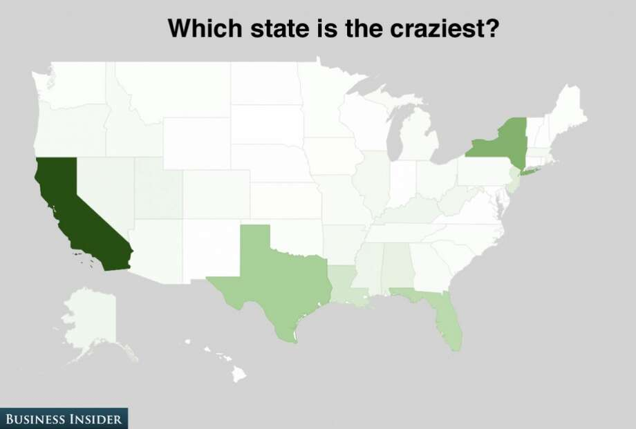 People in California are rated the nation's craziest. We think they just know how to party. Photo: Business Insider