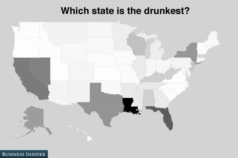 Louisiana is ranked the drunkest state in the country, thanks to Mardi Gras and college football tailgating, no doubt. Photo: Business Insider