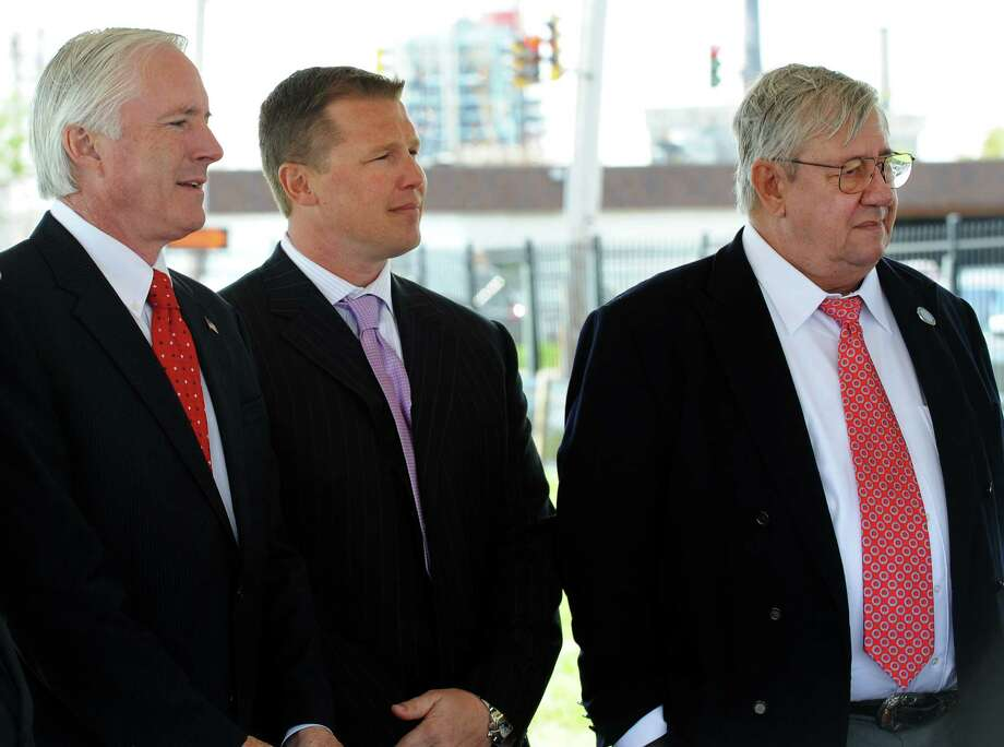 Mayor Bill Finch, Robert Christoph Jr. and Robert Christoph Sr., during a groundbreaking ceremony for work on the Steel Point infrastructure in Bridgeport, Conn. on May 13, 2013. Both Christophs have made significant contributions to Finch's reelection campaign. Photo: Cathy Zuraw / Connecticut Post