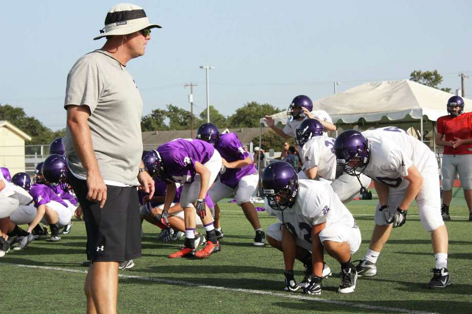 Boerne High School head football coach Mike Dormady, standing left, said some things broke down at last Friday's controlled scrimmage at Kerrville, but expects they will fall into place as players learn their roles.