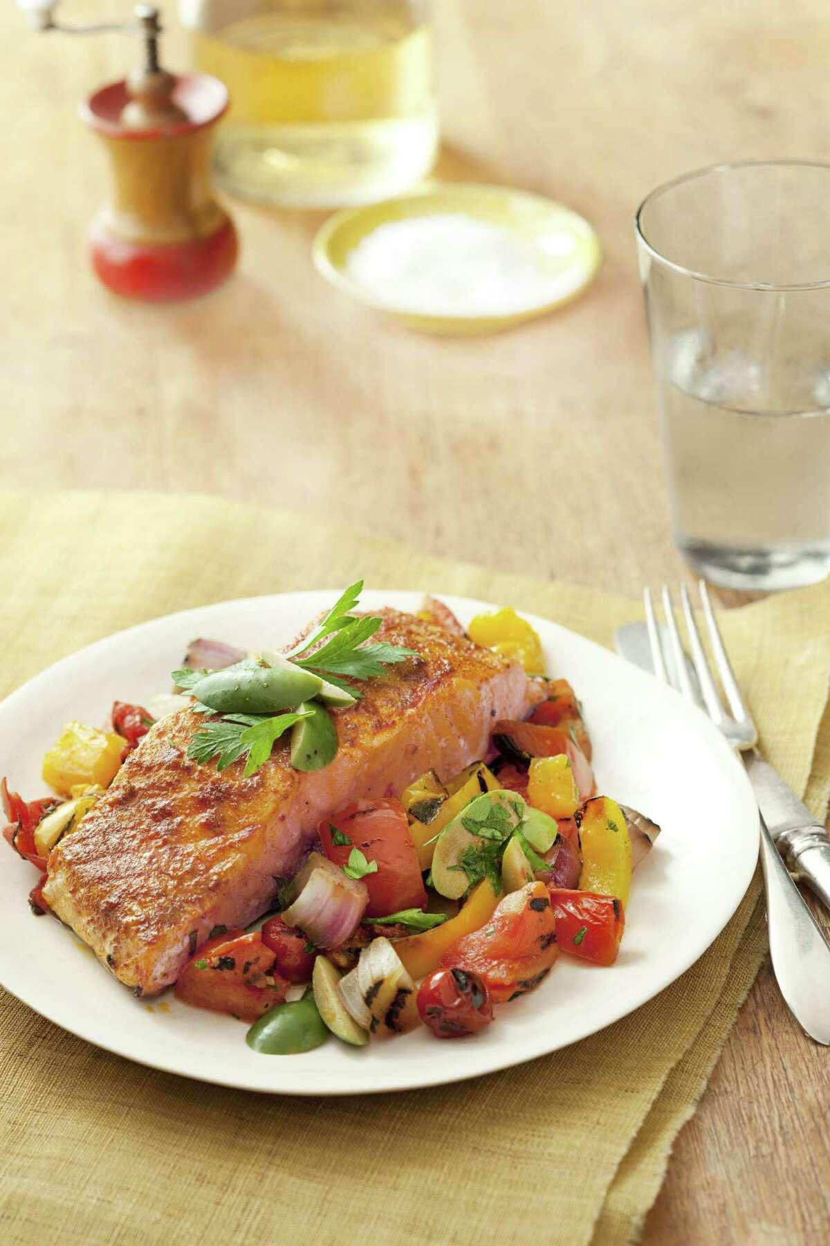 Good Housekeeping recipe for Smoky Spanish Salmon.