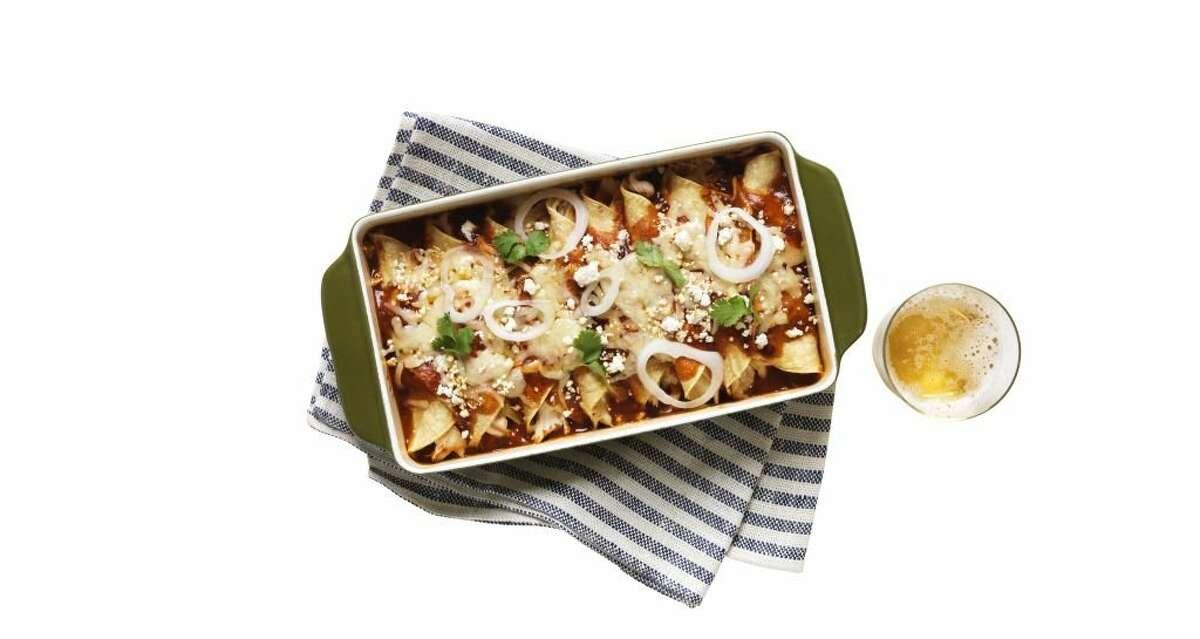 Redbook recipe for Spicy Chicken Enchiladas.