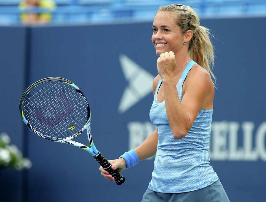 NEW HAVEN, CT - AUGUST 19:  Klara Zakopalova of the Czech Republic celebrates her set win over Dominika Cibulkova of Slovakia during Day Two of the New Haven Open at the Connecticut Tennis Center at Yale on August 19, 2013 in New Haven, Connecticut. Photo: Elsa, Getty Images / 2013 Getty Images