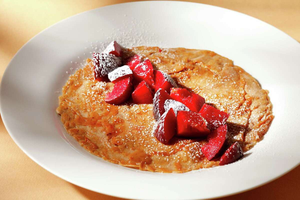 Carmelized Plum Crepe blends a somewhat tart fruit with a sweeter container, the crepe. The dessert is small, but the recipe can be doubled to serve four.