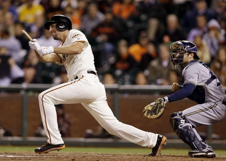 San Francisco Giants' Jeff Francoeur drives in a run with a broken-bat single during the eighth inning of a baseball game on Monday, Aug. 5, 2013, in San Francisco. Photo: Marcio Jose Sanchez, Associated Press