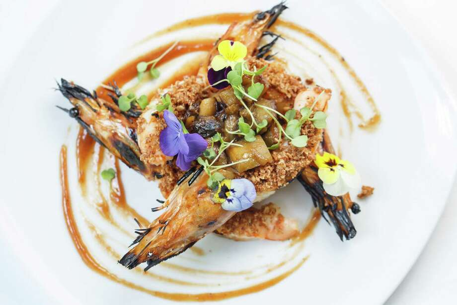 The Grilled Prawns with Smoked Eggplant, Roast Hazelnuts and Membrillo from  chef German Mosquera are positively savory. Photo: Michael Paulsen, Staff / © 2013 Houston Chronicle