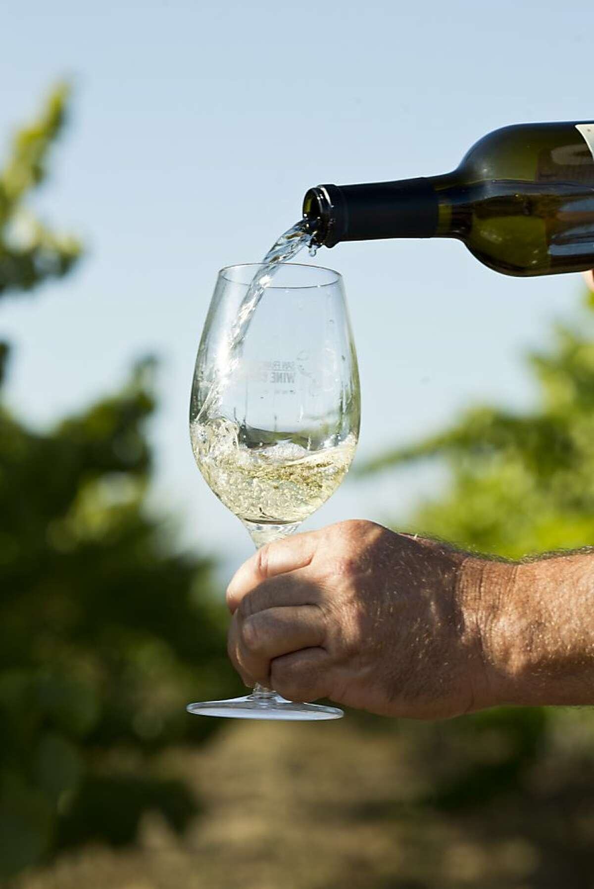 Peter Fanucchi, of Fanucchi Vineyards, pours a glass of his Trousseau Gris in Fulton, Calif., Wednesday, August 14, 2013.
