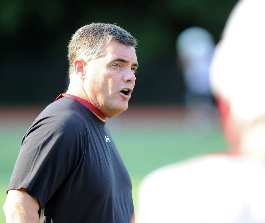 Greenwich High School assistant football coach Wayne Gioffre during football practice at Cardinal Stadium, Tuesday night, August 20, 2013. Photo: Bob Luckey / Greenwich Time
