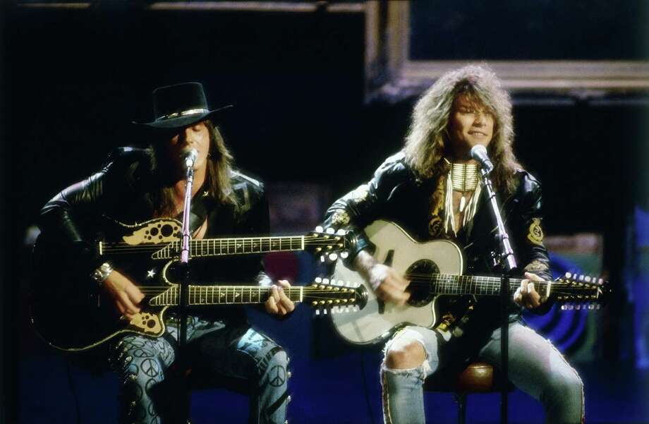 "1989:  Jon Bon Jovi and Richie Sambora perform an acoustic version of ""Wanted Dead or Alive."" Photo: Michael Ochs Archives, Getty Images / Michael Ochs Archives"