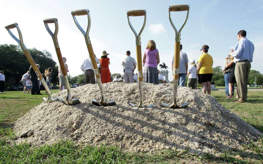 Shovels stand in a pile of dirt during the Hermann Park Conservancy ground breaking ceremony for the Grand Gateway renovation project at Hermann Park. Photo: Melissa Phillip, Houston Chronicle / © 2013  Houston Chronicle