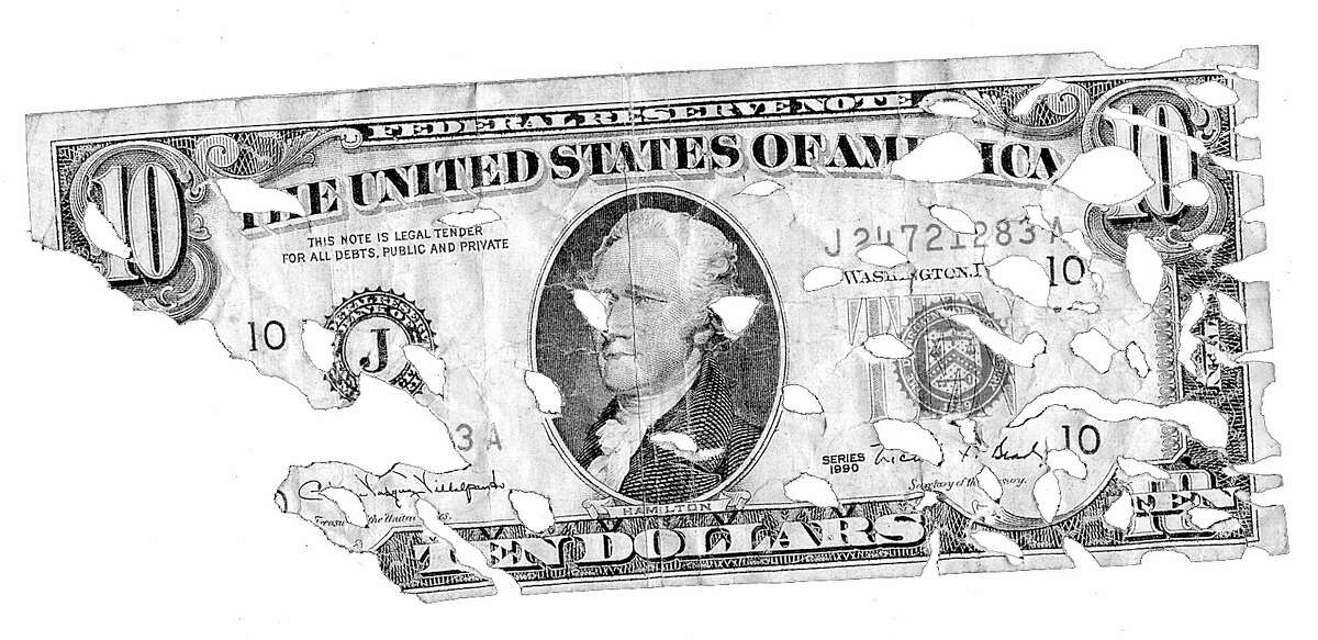 illustration for business EATEN DOLLAR BILL Do pesky costs eat at your returns. HOUCHRON CAPTION (12/27/1999): None.