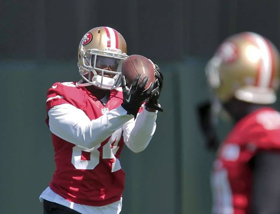 Jon Baldwin catches a pass in camp, where he aims to learn, including from fellow receiver Anquan Boldin. Photo: Mathew Sumner, Special To The Chronicle