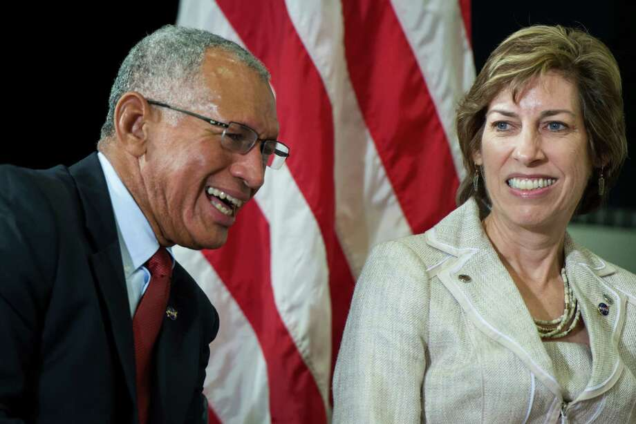 NASA Administrator Charles Bolden laughs with Johnson Space Center Director Ellen Ochoa during a press conference introducing the newest class of astronaut candidates at the center on Tuesday, Aug. 20, 2013, in Houston. Photo: Smiley N. Pool, Houston Chronicle / © 2013  Houston Chronicle