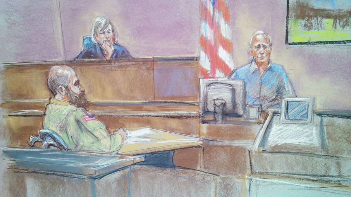 Witness Stephen Bennett (right) is shown in a courtroom sketch testifying as Maj. Nidal Hasan (left) and the judge, Col. Tara Osborn, look on during Hasan's court-martial.