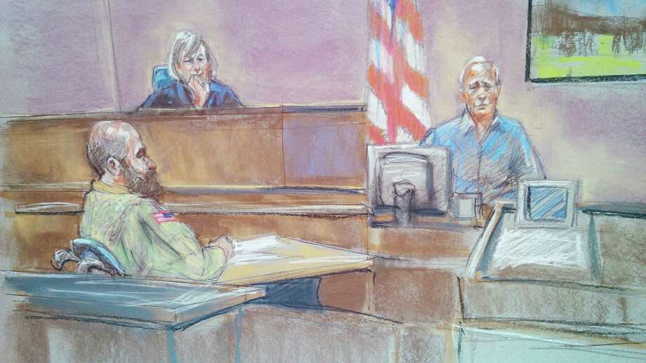 Witness Stephen Bennett (right) is shown in a courtroom sketch testifying as Maj. Nidal Hasan (left) and the judge, Col. Tara Osborn, look on during Hasan's court-martial. Photo: Brigitte Woosley / Associated Press