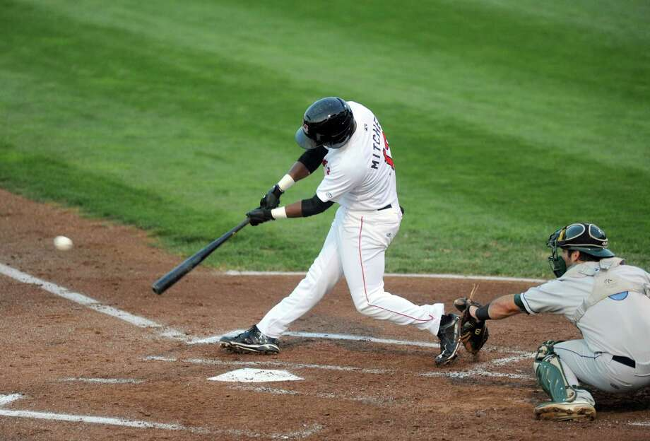 ValleyCats Ronnie Mitchell connects for an RBI single during their baseball game againsy Vermont at  Bruno Stadium on Tuesday Aug. 20, 2013 in Troy, N.Y. (Michael P. Farrell/Times Union) Photo: Michael P. Farrell / 00023558A