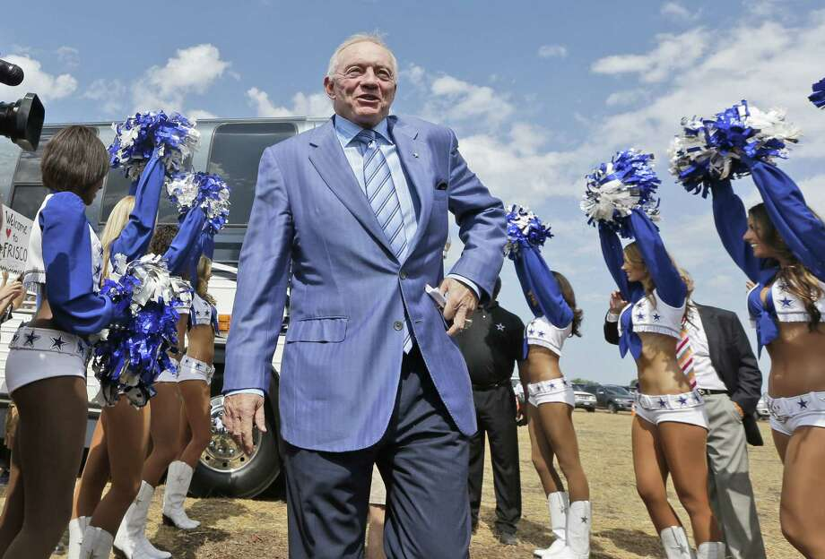 Jerry Jones, arriving at the soon-to-be new headquarters in Frisco, doesn't help his team when he's so forgiving of its mistakes. Photo: L.M. Otero / Associated Press