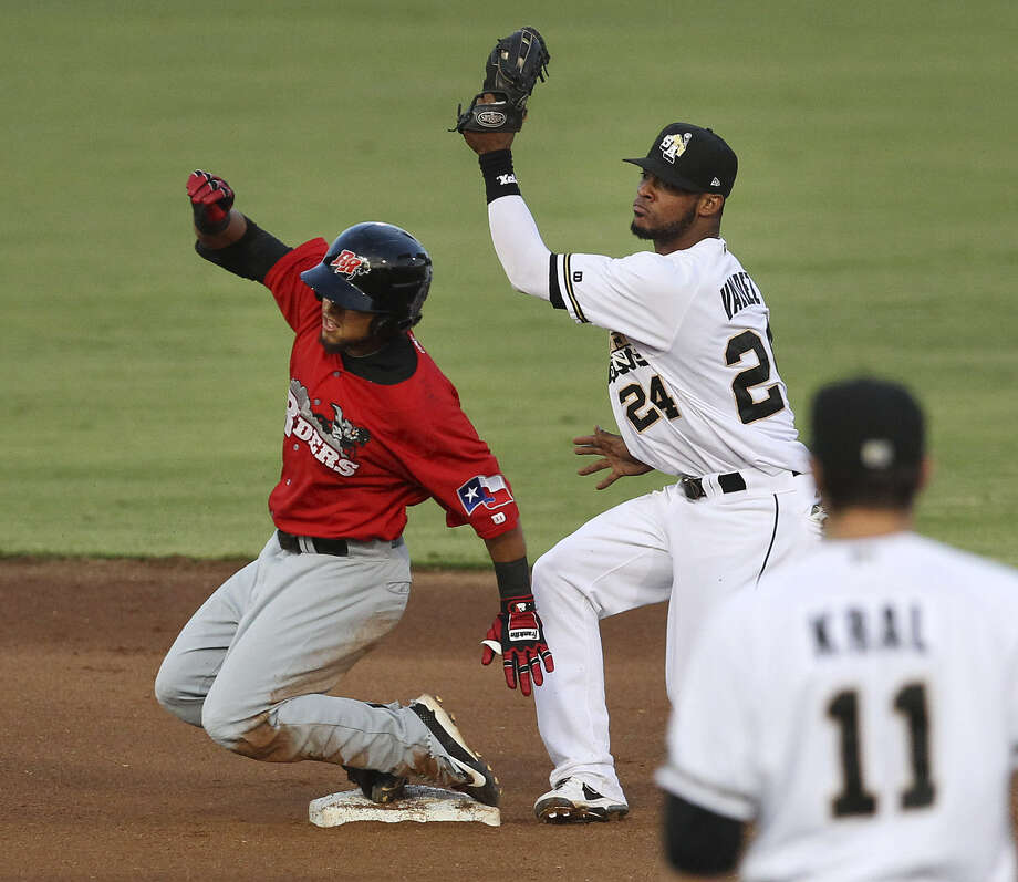 Missions shortstop Jeudy Valdez tags out Frisco's Rougned Odor at second base in the fourth inning.