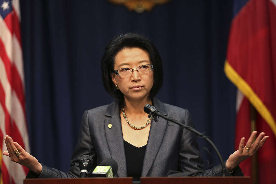 District 9 Councilwoman Elisa Chan addresses the media during a news conference at City Hall, in which she talked about a secret recording made by former staff member James Stevens on May 21. Photo: Jerry Lara / San Antonio Express-News