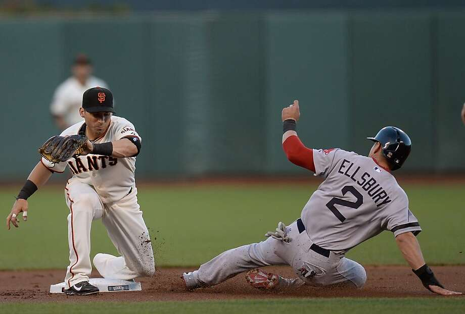 SAN FRANCISCO, CA - AUGUST 20:  Jacoby Ellsbury #2 of the Boston Red Sox steals second base beating the throw down to Marco Scutaro #19 of the San Francisco Giants in the first inning at AT&T Park on August 20, 2013 in San Francisco, California.  (Photo by Thearon W. Henderson/Getty Images) Photo: Thearon W. Henderson, Getty Images