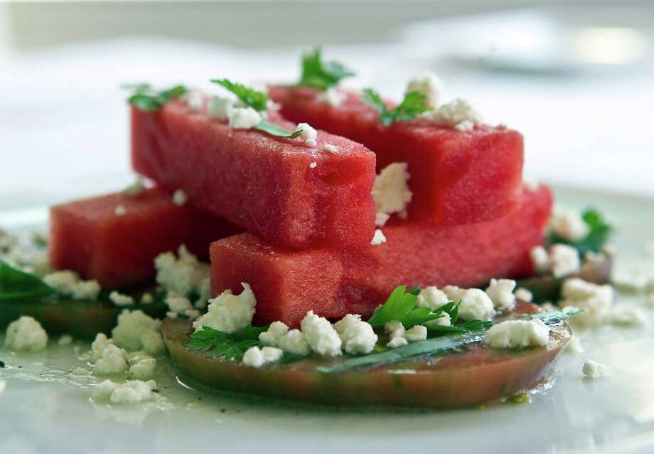 The Watermelon Salad at the Restaurant CINQ at La Colombe d'Or Hotel Friday, April 15, 2011, in Houston. Photo: James Nielsen, Houston Chronicle / Houston Chronicle