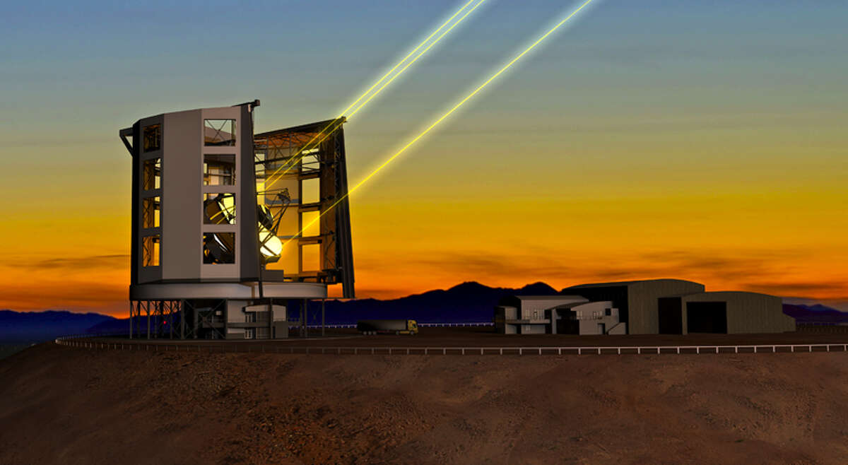 This drawing depicts the Giant Magellan Telescope, which will be set up in the Atacama Desert in Chile and will allow a deeper look into the early universe.