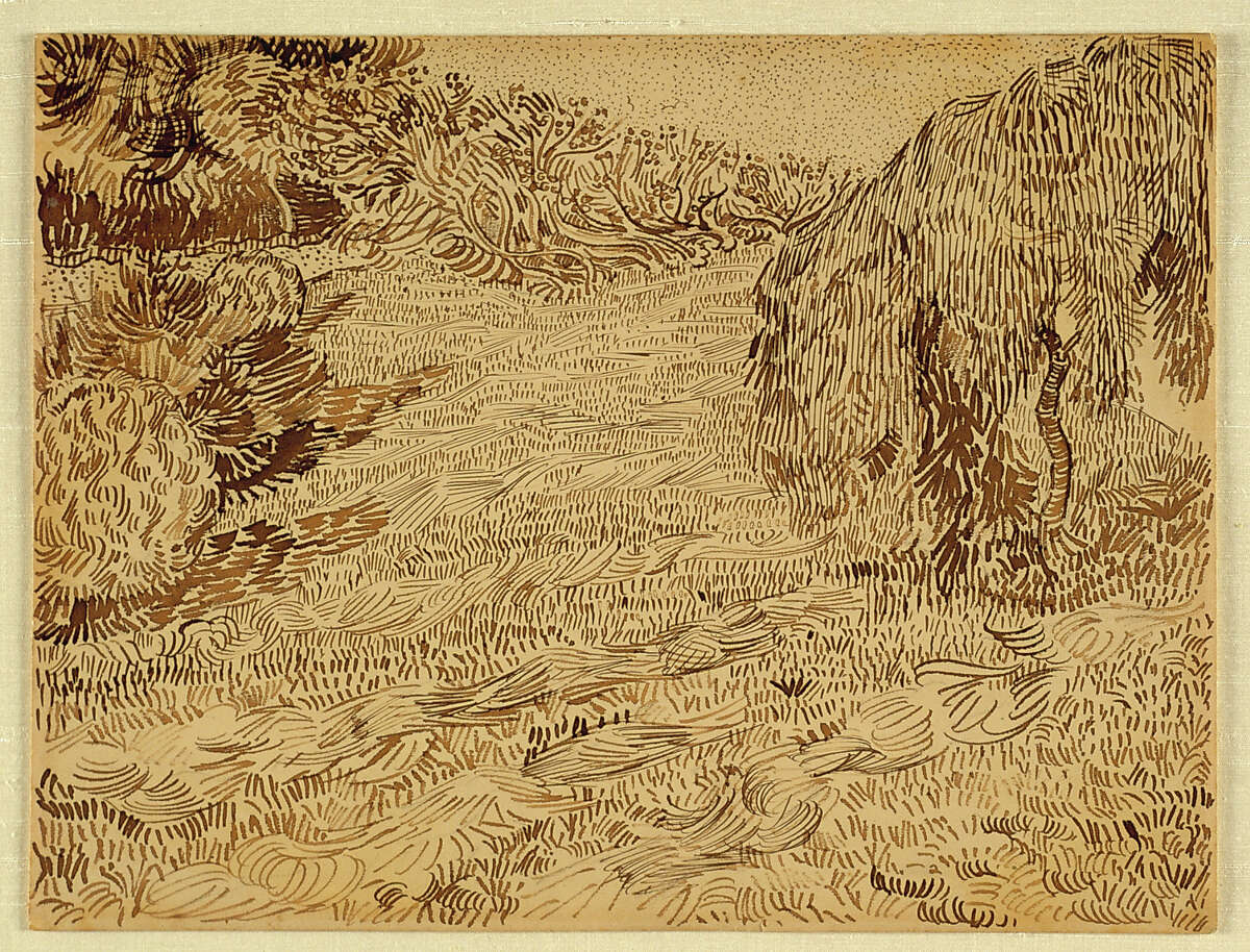"""On view in """"Late Surrealism"""" at the Menil Collection through Aug. 25: Vincent van GOGH Garden with Weeping Tree, Arles 1888 (August) Brown ink with traces of graphite on paper 9-5/8 x 12-5/8 inches Photographer: Hickey-Robertson, Houston Credit Line: The Menil Collection, Houston"""