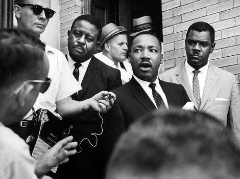 Rev. Ralph D. Abernathy, desegregation leader, with Rev. Martin Luther King Jr. and Dr. William G. Anderson, right, after his release from jail. Photo: Donald Uhrbrock, Time & Life Pictures/Getty Image / Donald Uhrbrock