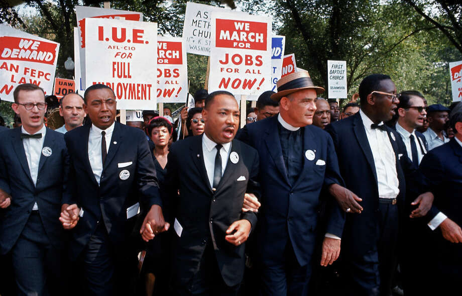 Leaders of March on Washington for Jobs & Freedom marching w. signs with Rev. Martin Luther King Jr.. Photo: Robert W. Kelley, Time & Life Pictures/Getty Image / Time Life Pictures