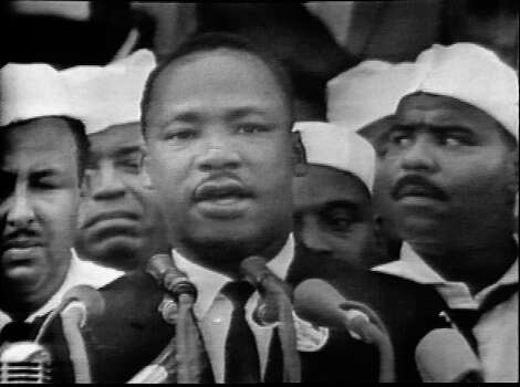 Screen capture from the CBS national broadcast of the 'I Have a Dream' speech of American civil rights leader Rev. Martin Luther King Jr., Washington, DC, August 28, 1963. King Jr. delivered his speech on the steps of the Lincoln Memorial to over 200,000 supporters at the March on Washington for Jobs and Freedom. Photo: CBS Photo Archive, Getty Images / 2005 CBS WORLDWIDE INC