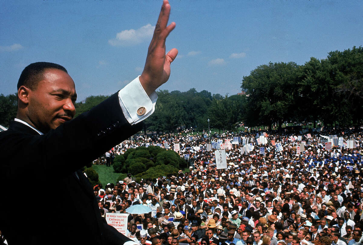 Martin Luther King Jr. addressing crowd of demonstrators outside the Lincoln Memorial during the March on Washington for Jobs and Freedom i 1963.