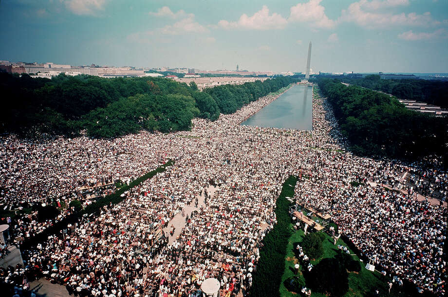 Overhead view of the massive crowd assembled on the Mall in front of the Reflecting Pool and between the Lincoln and Washington monuments during the civil rights March on Washington for Jobs and Freedom. Photo: Robert W. Kelley, Time & Life Pictures/Getty Image / Time & Life Pictures