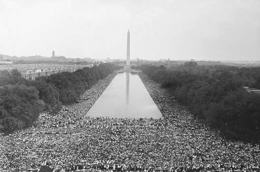 Participants in the August 28, 1963 March on Washington all around the Lincoln Memorial. This march, organized by Rev. Martin Luther King Jr., demanded equal rights for American blacks. Photo: Keystone-France, Gamma-Keystone Via Getty Images / 1963 Keystone-France