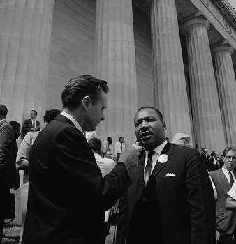 """NBC News' Merrill """"Red"""" Mueller, Rev. Martin Luther King Jr. during an interview at the March on Washington for Jobs and Freedom political rally at the Lincoln Memorial on August 28, 1963. Photo: NBC NewsWire, NBC NewsWire Via Getty Images / 2012 NBCUniversal, Inc."""