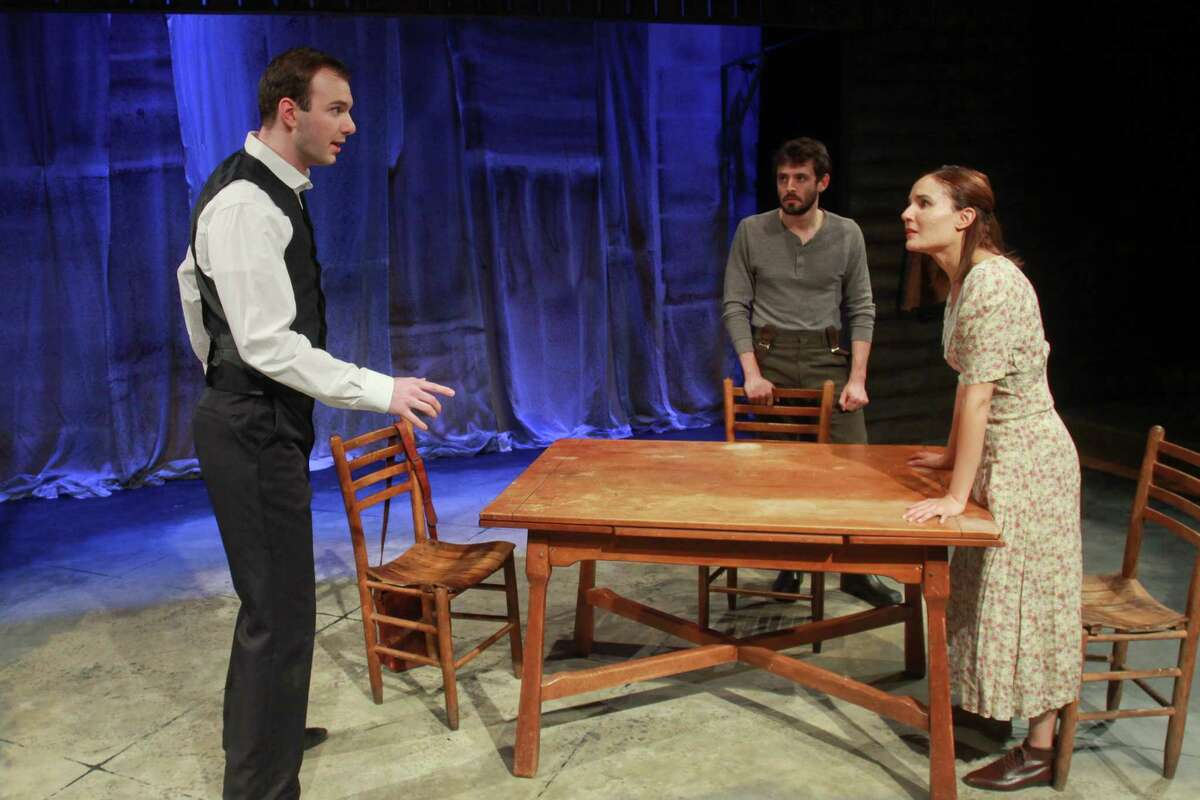 """Kevin Lusignolo, left, Bobby Haworth and Patricia Duran star in Mildred's Umbrella Theater Company's """"Foxfinder."""""""