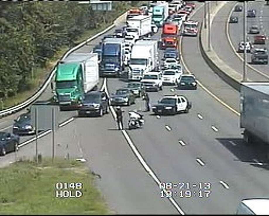 I-84 westbound in Danbury, where a person was struck by a vehicle.