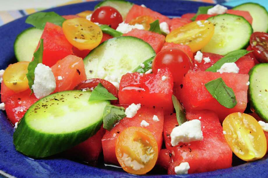 Watermelon and tomato salad with basil oil, Thursday, Aug. 15, 2013. (Will Waldron/Times Union) Photo: WW / 00023534A