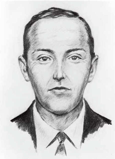 "Digital photograph showing an artist conceptual sketch of ""Dan Cooper"" aka DB Cooper, who hijacked Northwest Orient Airlines flight 305 on November 24, 1971. Black and white drawing shows a white male with short hair, wearing a suit and necktie. Photo: FBI, Courtesy Of The Washington State Historical Society"