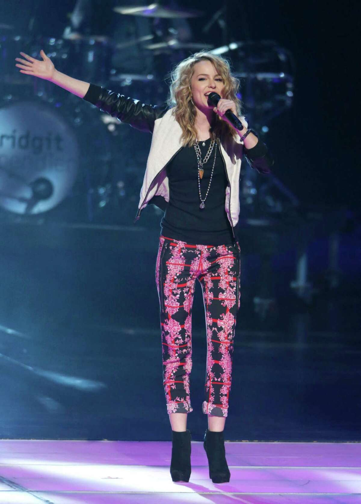 Bridgit Mendler performs onstage during the Radio Disney Music Awards at the Nokia Theatre on Saturday, April 27, 2013 in Los Angeles. (Photo by Todd Williamson /Invision/AP)